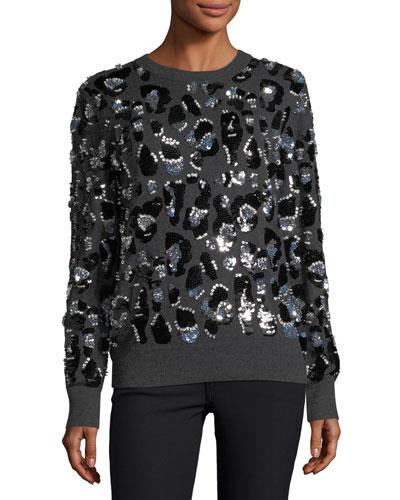 Paillette Leopard Cashmere Sweater