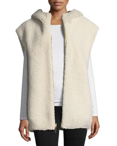 Shearling Fur Hoodie Vest