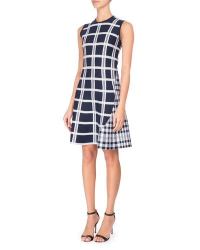 Sleeveless Tartan Check Mini Dress