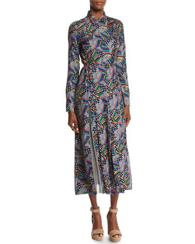 Jane Multi-Print Silk Shirtdress