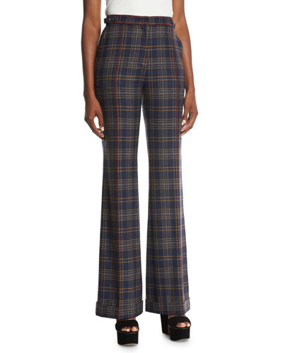 Shipton Plaid Wide-Leg Pants