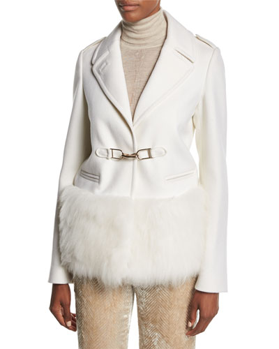 Shelby Fur-Trim Hook-Front Coat