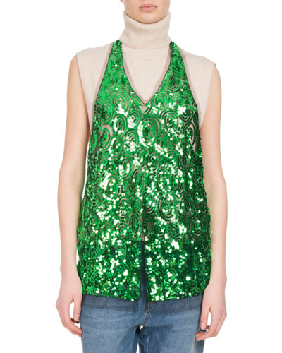 Chanty Sequined Halter Top