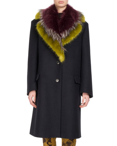 Remigino Faux-Fur Trimmed Wool Coat