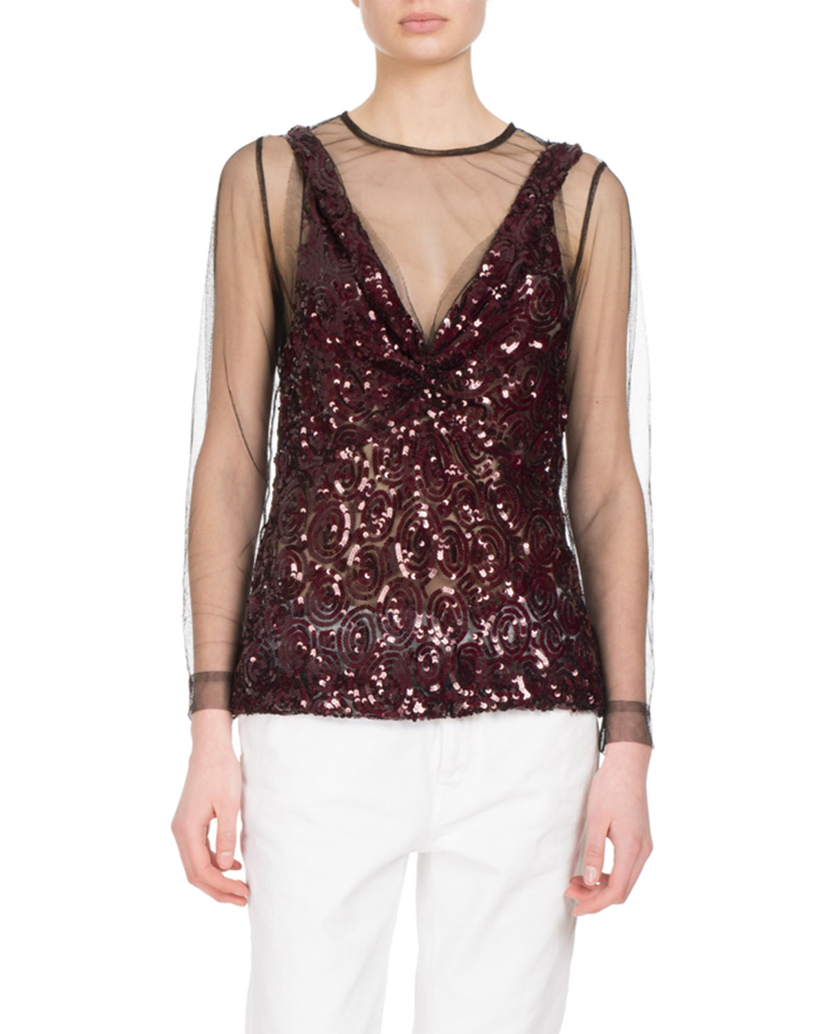 Carti Sequined Mesh Top