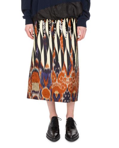 Shine Embroidered Ikat Midi Skirt