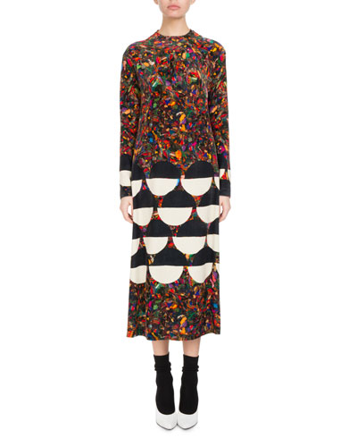Dashi Mixed-Print Velvet Midi Dress