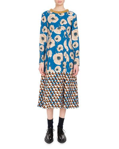 Delfont Poppy-Print Midi Dress