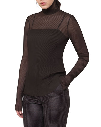 Pleated Sheer Mock-Neck Top