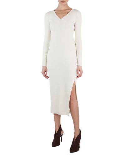 Long-Sleeve V-Neck Ribbed Midi Dress
