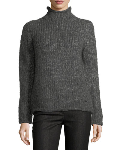 Knit Mock-Neck Pullover Sweater