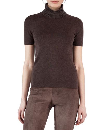 Short-Sleeve Turtleneck Sweater