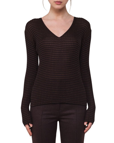 Check Ribbed V-Neck Sweater