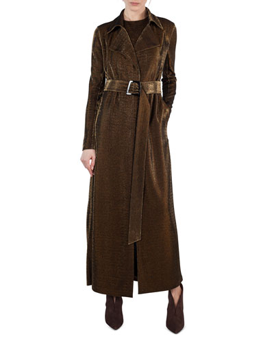 Long Metallic Jersey Trenchcoat