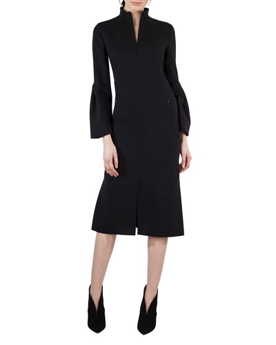 Bell-Sleeve Zip-Front Wool Dress