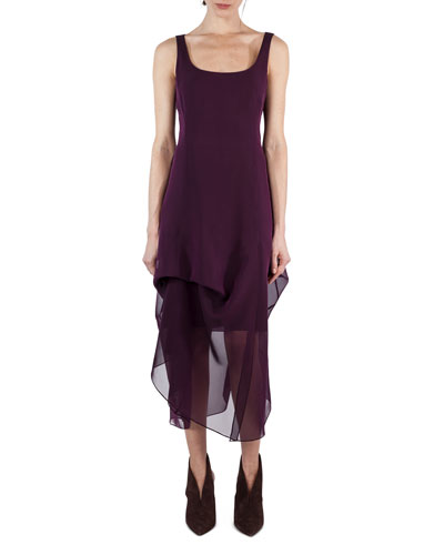 Sleeveless Scoop-Neck Chiffon Dress