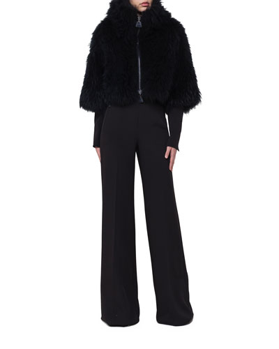 Zip-Front Goat Fur Cape Jacket