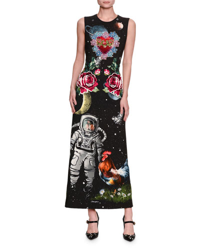 Astronaut-Print Sleeveless Cady Maxi Dress