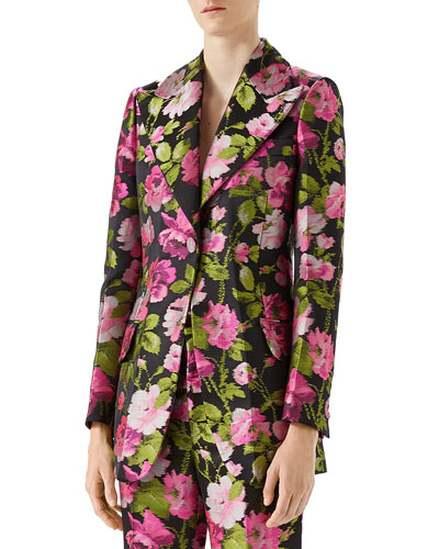 Rose Jacquard Single-Breasted Jacket