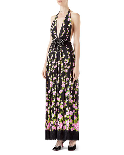 Flower Jacquard Dress with Climbing Roses Print