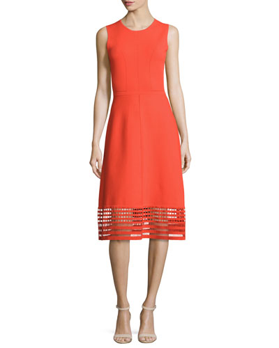 Sleeveless Dress with Windowpane Lace Hem, Coral