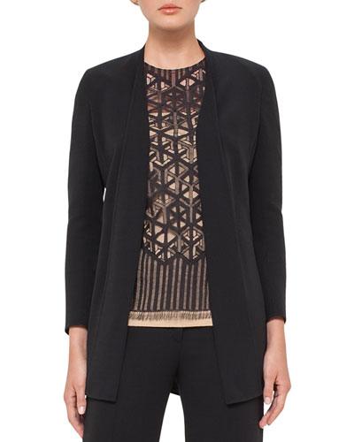 Open-Front Wool-Blend Cardigan Jacket, Black