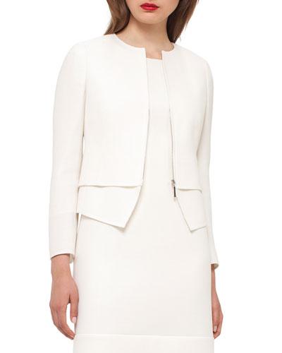 Identity Wool Crepe Jacket, Moonstone Ivory