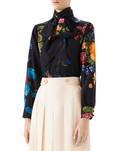 Pictorial Bouquet Print Silk Shirt