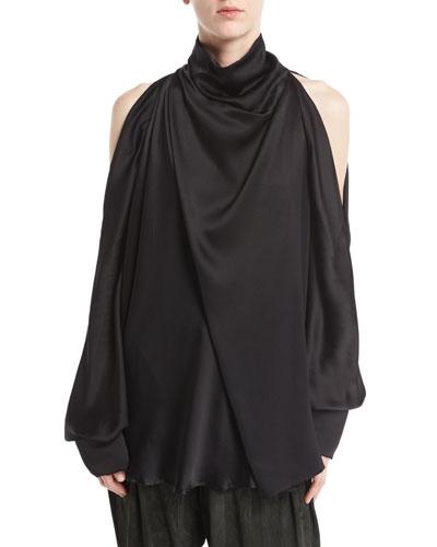 Silk Charmeuse Cold-Shoulder Top