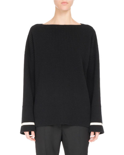 Ribbed Knit Boat-Neck Sweater