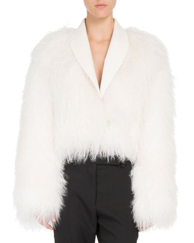 Shawl-Collar Shearling Fur Jacket