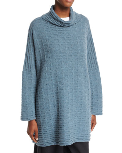 Funnel-Neck Cashmere Pullover Sweater