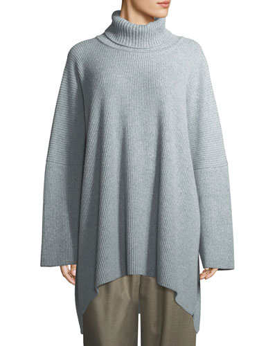 Ribbed Knit Cashmere Turtleneck Sweater