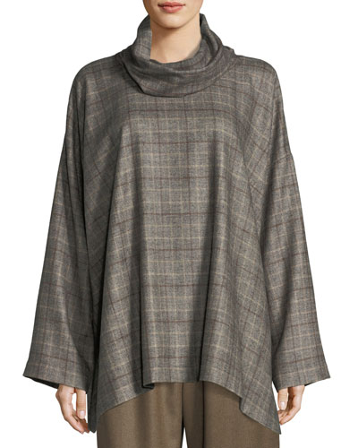 Plaid Cowl-Neck Monk's Top