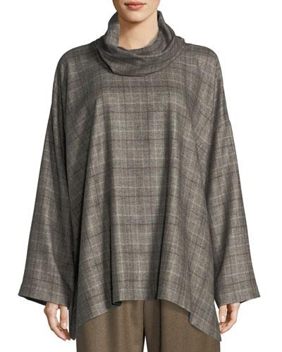 Plaid Cowl-Neck Monk's Top