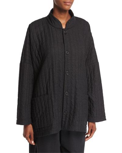 Mandarin-Collar Ribbed Coat