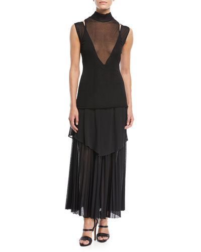 Pleated Gauze Jersey Mock-Neck Dress