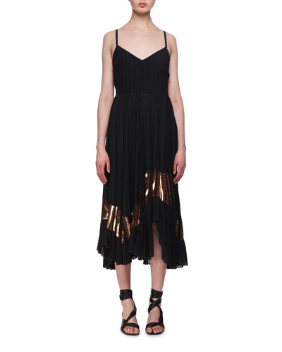 Foil-Trim Crepe Cami Dress