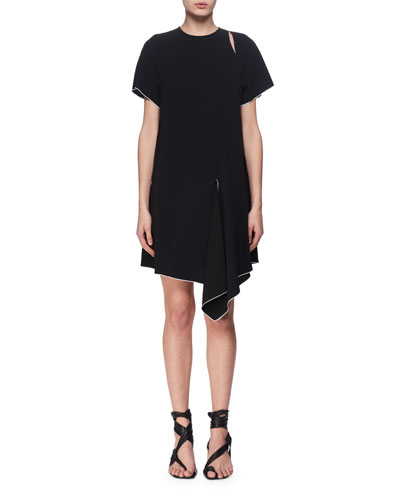 Slashed Short-Sleeve Crepe Dress