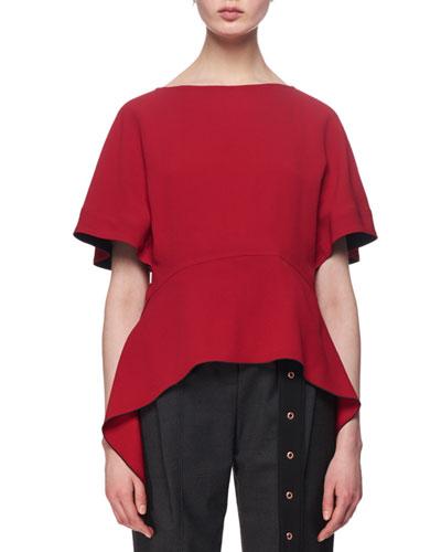 Short-Sleeve Arch-Hem Top
