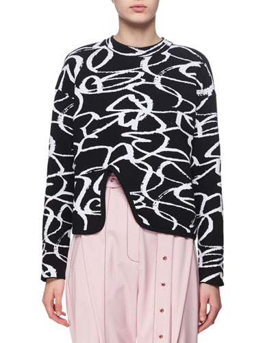 BRUSHSTROKE JACQUARD CREWNECK TOP