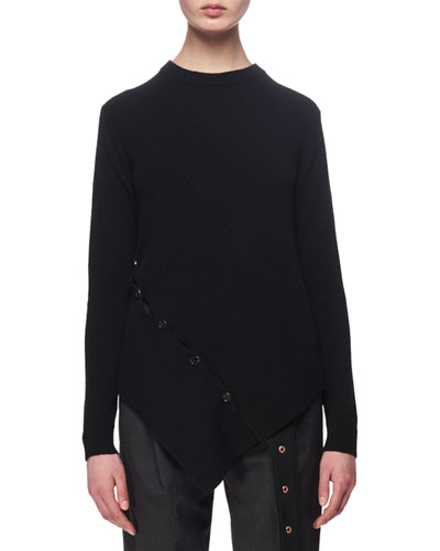 Asymmetric Button-Trim Sweater