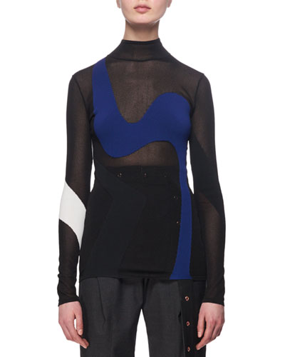 Sheer Wave-Knit Colorblock Top