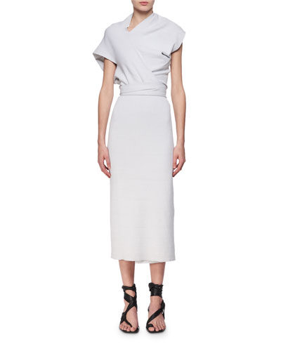 Asymmetric Wrap-Front Midi Dress