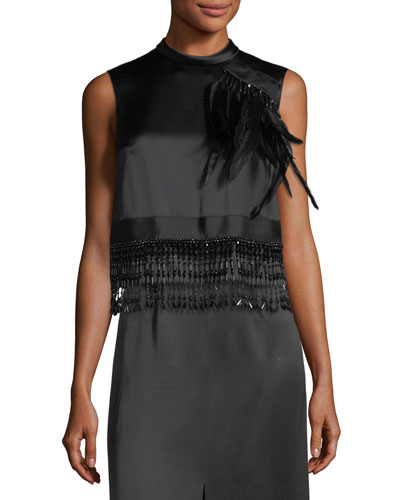 Feather-Embellished High-Neck Satin Top