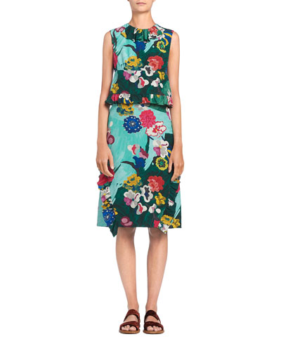 Sleeveless Floral Crepe de Chine Dress