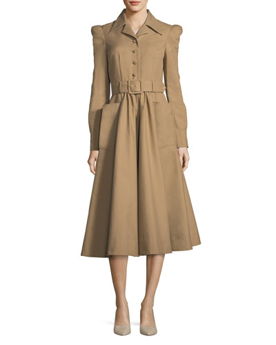 Long-Sleeve Cotton Shirtdress