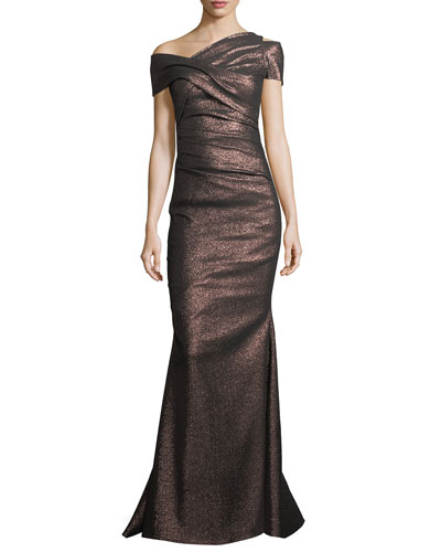 Moa Metallic One-Shoulder Ruched Gown