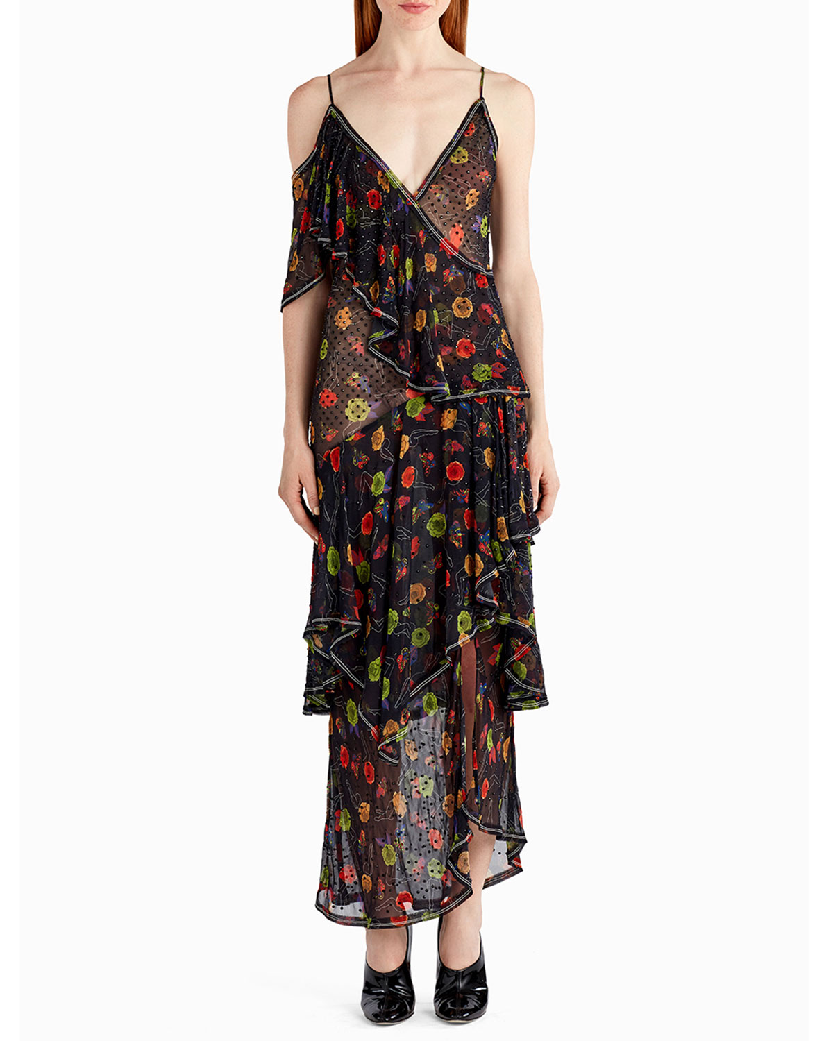 Crystal-Beaded Floral Chiffon Cocktail Dress