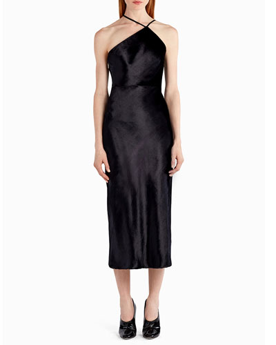 Asymmetric Velvet Halter Cocktail Dress